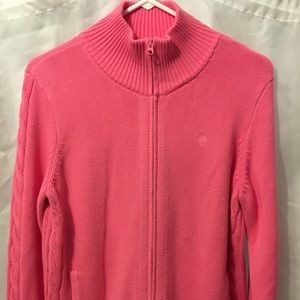 Lilly Pulitzer Pink Zip Front Sweater